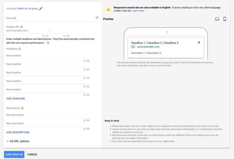 Google AdWords ETA